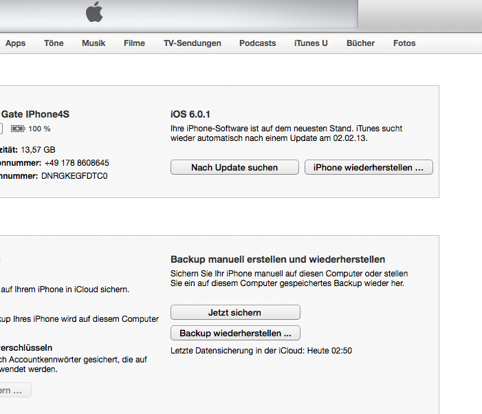Wiederherstellen-Button in ITunes 11