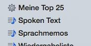 Seitenleiste iTunes, soweit aktiviert.