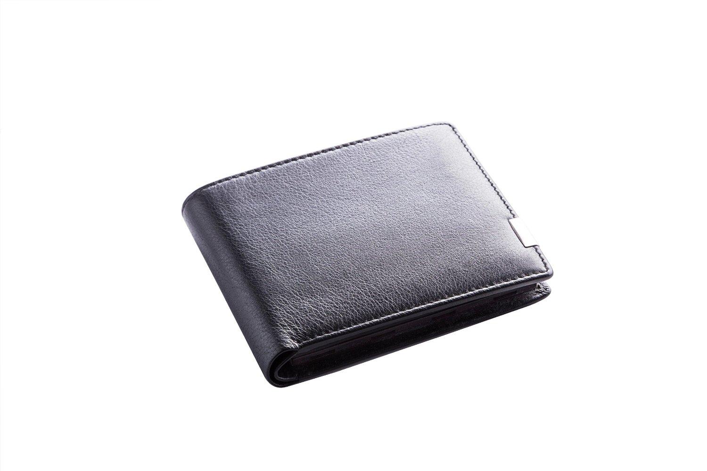 Beschreibung: Zugeklappte schwarze mattglänzende Ledergeldbörse mit fingernagelbreiter rechteckiger Metallniete im unteren Drittel des seitlichen Randes der Geldböse. Die Niete ist schwarz mit EiMiX beschriftet und silber.