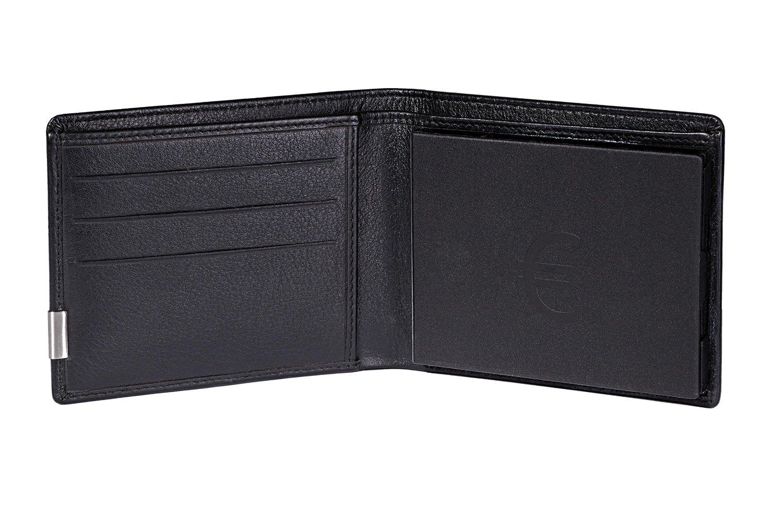 Beschreibung: Aufgeklappte Geldbörse. Karteneinschübe links und geschlossene Münzbox rechts.