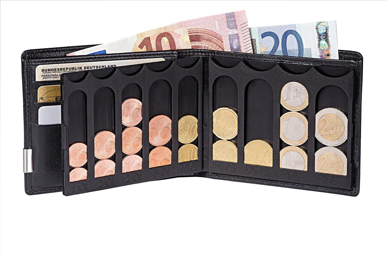 Bildbeschreibung: Aufgeklappte EiMiX Geldbörse und aufgeklappte Münzbox, welche mit Münzen bestückt ist, die Kante an Kante liegen. Aus dem Scheinfach ragen 2 Geldscheine heraus.